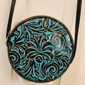 Patricia Nash round turquoise crossbody purse